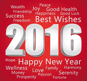 2016 lyckliga nya år Med förälskelse Röd och silverkort Royaltyfri Fotografi