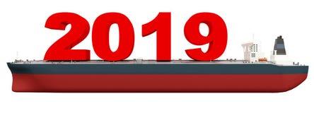 2019 lyckliga nya år med sändande begrepp, skepptrans. royaltyfri illustrationer