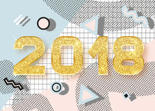 2018 lyckliga nya år Memphis stil Arkivbilder