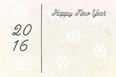 2016 lyckliga nya år på pappers- kort för tappning Royaltyfri Fotografi
