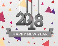 Lyckliga nya år 2018 pappers- design vektor illustrationer