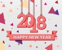 Lyckliga nya år 2018 pappers- design royaltyfri illustrationer