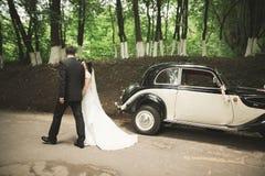 Lyckliga nygift personpar, man och fru som kysser nära den stilfulla retro bilen Fotografering för Bildbyråer
