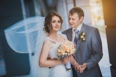 Lyckliga nygifta personer mot en blå modern byggnad Royaltyfri Bild