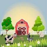 Lyckliga och gladlynta lantgårddjur Royaltyfria Bilder