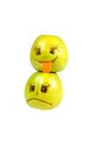 Lyckliga och ledsna emoticons från äpplen Känslor inställningar Arkivbilder