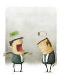 Lyckliga och olyckliga affärsmän royaltyfri illustrationer