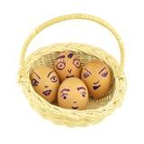 Lyckliga och roliga emoticons som är äggskalstunna i den isolerade korgen Royaltyfri Bild