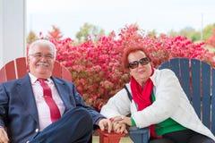 Lyckliga och romantiska höga par som ser dig royaltyfri bild
