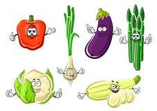 Lyckliga organiska grönsaktecken för tecknad film Arkivbild