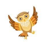 Lyckliga Owl Cute Cartoon Character Emoji med Forest Bird Showing Human Emotions och uppförande Arkivfoto