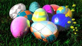 Lyckliga påskägg i gräset - illustration 3D Vektor Illustrationer