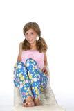 lyckliga pajamas för flicka royaltyfria bilder