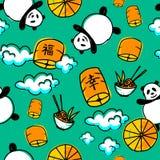 Lyckliga pandor Stock Illustrationer