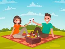 Lyckliga par av ungdomarpå en picknick En tur till naturtoget royaltyfri illustrationer