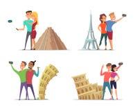 Lyckliga par gör selfie nära gränsmärken Vektortecken i tecknad filmstil royaltyfri illustrationer