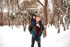 Lyckliga par har gyckel i vinter parkerar royaltyfri fotografi