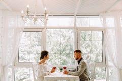 Lyckliga par i restaurangen som ser sig och att rosta Royaltyfri Bild