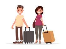 Lyckliga par med bagage på vit bakgrund En man och en kvinna Arkivfoto
