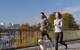 Lyckliga par med den rinnande hunden utomhus Fotografering för Bildbyråer