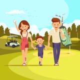 Lyckliga par med golfklubbar som leder sonen för att spela golf royaltyfri illustrationer