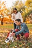 Lyckliga par med hundkapplöpning som utomhus spelar i höst, parkerar Arkivfoton