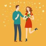 Lyckliga par på ett datum royaltyfri illustrationer
