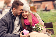 Lyckliga par på valentin dag i parkera Royaltyfria Foton