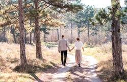 Lyckliga par som går i höstskogen arkivbilder