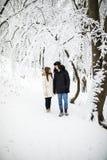 Lyckliga par som har rolig det fria i snö, parkerar snowman för sand för hav för bakgrundsstrand exotisk gjord tropisk semester v Royaltyfri Fotografi