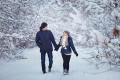 Lyckliga par som har rolig det fria i snö, parkerar snowman för sand för hav för bakgrundsstrand exotisk gjord tropisk semester v Royaltyfria Bilder