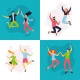 Lyckliga par som hoppar i olikt, poserar Samling av tecknad filmkvinnor och m?n i plan design vektor illustrationer