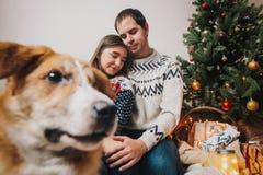 Lyckliga par som kramar att omfamna på julträdet med ljus och Fotografering för Bildbyråer