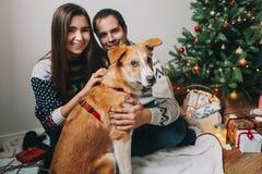 Lyckliga par som kramar den gulliga hunden i rum på julträdet med lig Royaltyfria Bilder