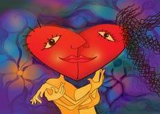 Lyckliga par som kysser i en röd hjärta, formar. Royaltyfri Illustrationer