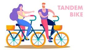 Lyckliga par som rider det plana textbanret för tandem cykel stock illustrationer
