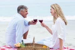 Lyckliga par som rostar med rött vin under en picknick Arkivfoto