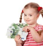 lyckliga pengar för barneuro Fotografering för Bildbyråer