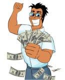 lyckliga pengar för grabb mycket Royaltyfri Bild
