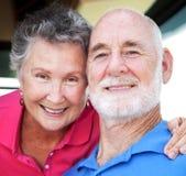 lyckliga pensionärer för closeup Royaltyfri Bild