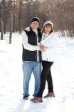 Lyckliga pensionärpar i vinterpark Arkivbilder