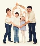 Lyckliga personer för familj fyra Fotografering för Bildbyråer