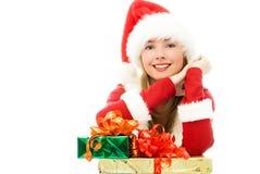 lyckliga presents för julflicka Fotografering för Bildbyråer