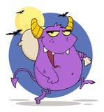 Lyckliga purpura monsterkörningar med påsen Royaltyfri Fotografi