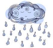 Lyckliga regndroppar med det sömniga molnet Royaltyfri Illustrationer