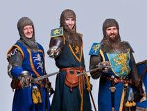 lyckliga riddare medeltida tre Arkivfoto