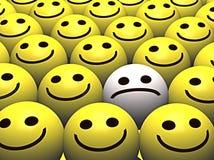 lyckliga SAD smileysmileys för folkmassa Royaltyfri Fotografi