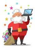 Lyckliga Santa Claus med påsen av gåvor och anteckningsboken Royaltyfria Foton