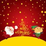 Lyckliga Santa Claus och älva Arkivfoto