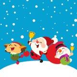 Lyckliga Santa Claus, snögubbe och älva Royaltyfri Bild
